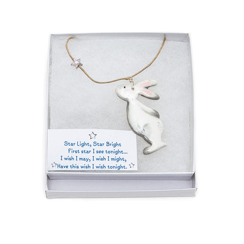 Angel Ceramics  Glazed Ceramic Bunny and Star Necklace box