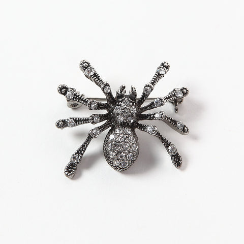 Sparkly Diamante Spider Brooch