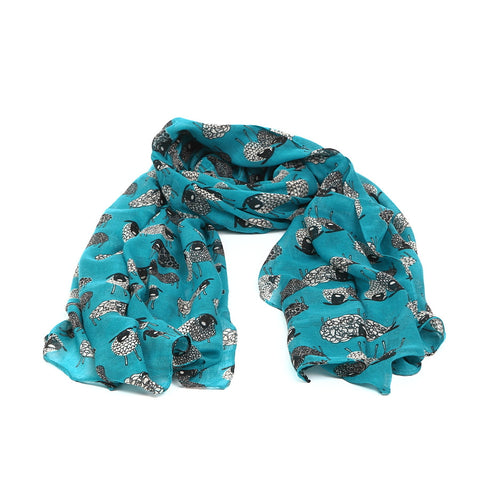 Turquoise Scarf with Quirky Sheep Design