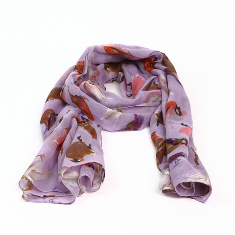 Pretty Lilac Scarf with Bird Design