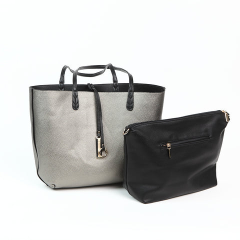 Metallic Silver/Black Reversible Shopper with Handbag