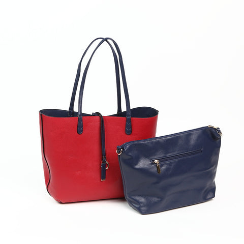 Red/Navy Reversible Shopper with Handbag