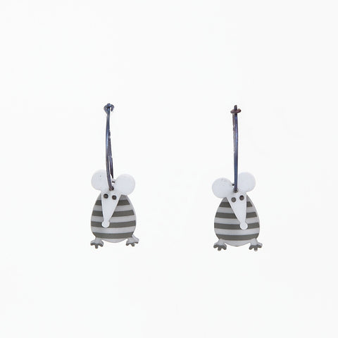 Lene Lundberg K-Form Grey Stripey Mouse Earrings