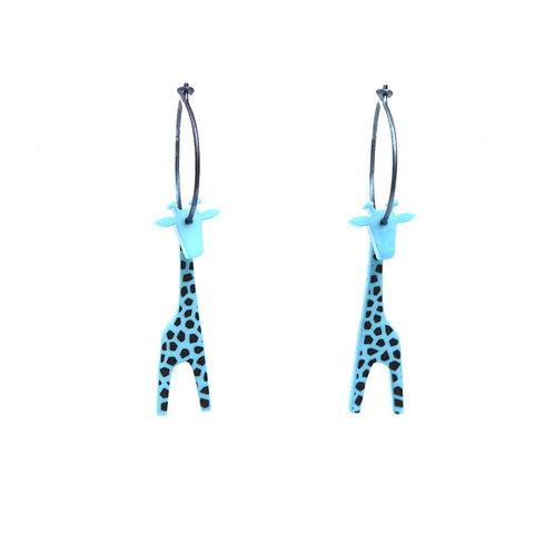 Lene Lundberg K-Form Turquoise/Black Spots Giraffe Earrings