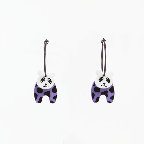 Lene Lundberg K-Form Purple Panda Earrings