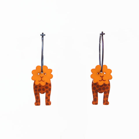 Lene Lundberg K-Form Orange Lion Earrings