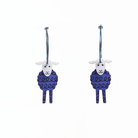 Lene Lundberg K-Form Blue Sheep Sheep Earrings