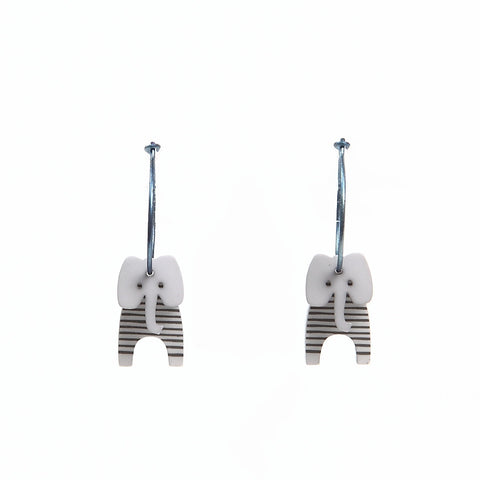 Lene Lundberg K-Form Grey Stripey Elephant Earrings