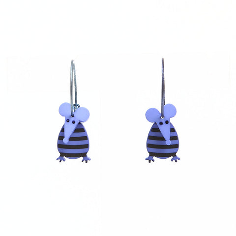 Lene Lundberg K-Form Purple Stripey Mouse Earrings