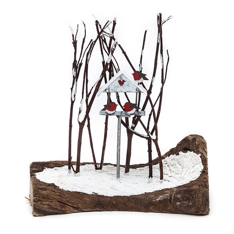 Shoeless Joe Bird Table with Robins and Trees Christmas Decoration