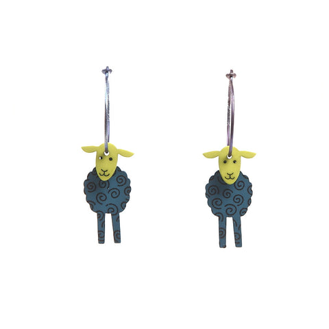 Lene Lundberg K-Form Teal/Chartreuse Sheep Earrings