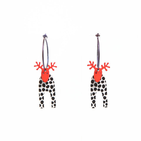 Lene Lundberg K-Form Black/White/Red Moose Earrings