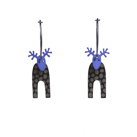 Lene Lundberg K-Form Purple-Faced Reindeer Earrings
