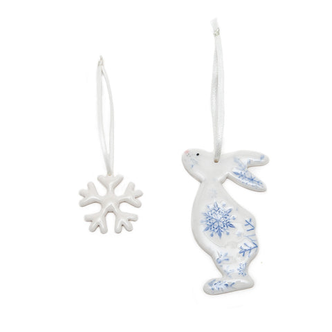 Angel Ceramics Glazed Ceramic Snow Bunny and Snowflake Hanging Decorations