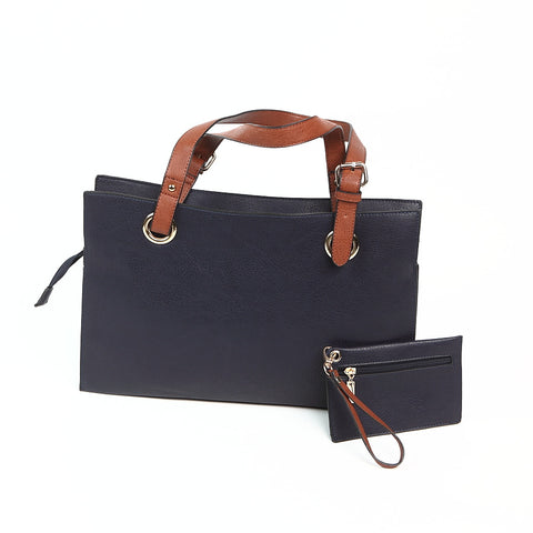 Dark Grey Wide Shopper Style Bag from Long & Sons
