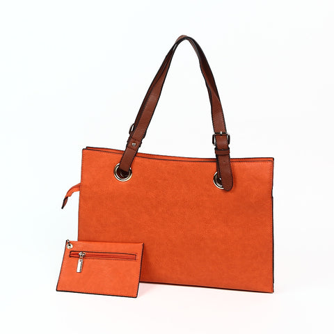 Bright Orange Wide Shopper Style Bag