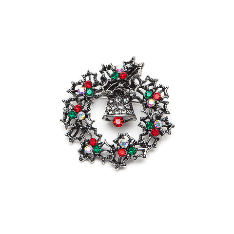 Christmas Wreath Brooch with Red and Green Crystals