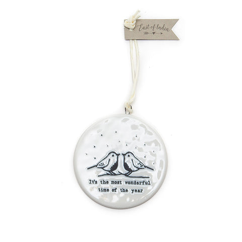 East of India 'It's the Most Wonderful Time...' Flat Ceramic Bauble