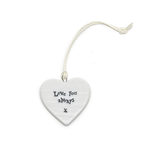 East of India 'Love You Always' Ceramic Heart