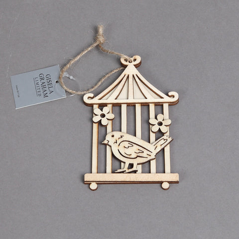 Gisela Graham Natural Wood Bird on Cage Decoration