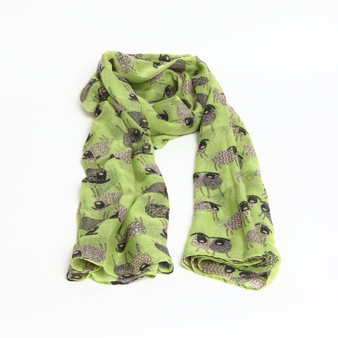 Bright Green Scarf with Quirky Sheep Design