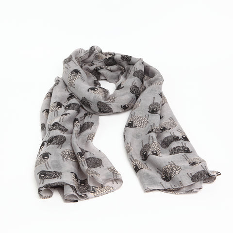 Grey Quirky Sheep Scarf