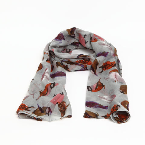 Grey Scarf with Watercolour Birds Design