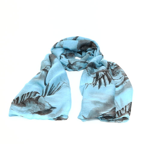 Sketched Grey Birds on Blue Scarf