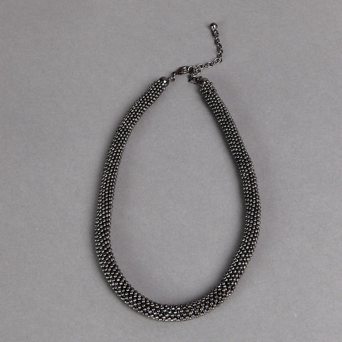 Stylish Gun-Metal Bobble-Finish Necklace