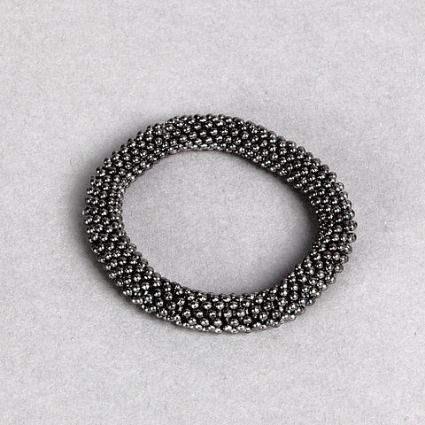 Stylish Gun-Metal Bobble-Finish Bracelet