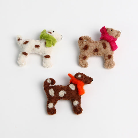 Brown Cream Taupe Felt Spotty Dog Brooches