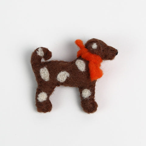 Brown Felt Spotty Dog Brooch