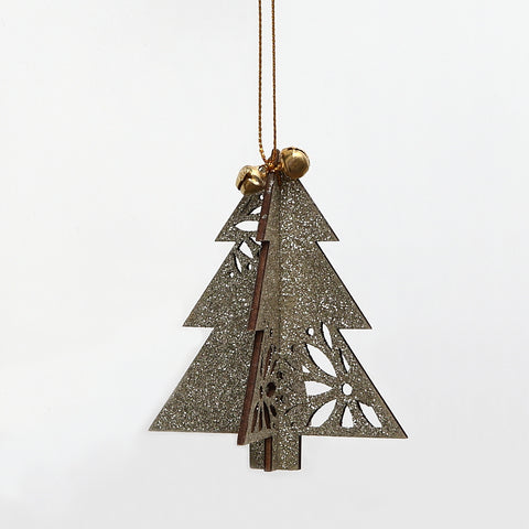 Gisela Graham 3D Gold Glitter Wooden Christmas Tree