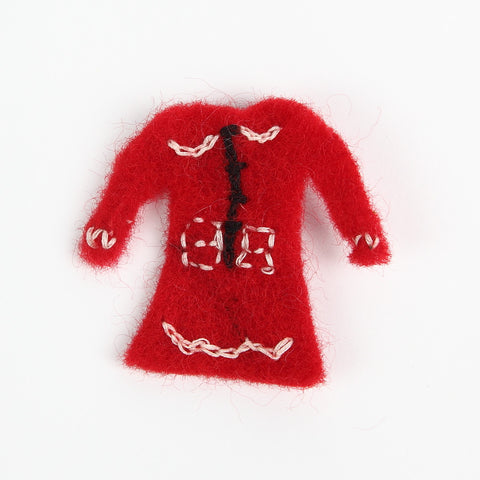 Amica Little Red Felt Dress Brooch