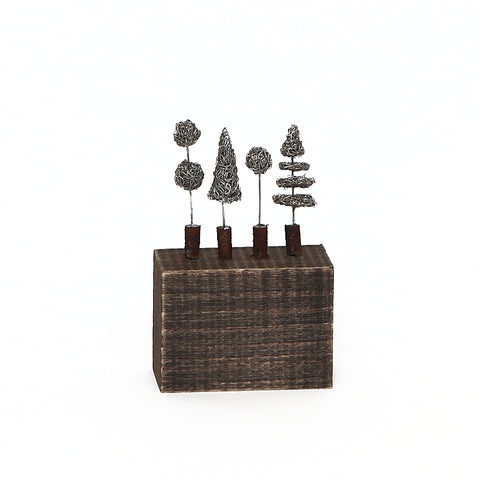 Sarah Jane Brown Mini Metal Topiary on Wood