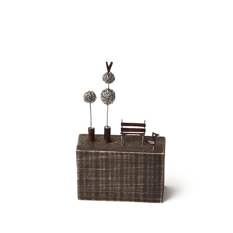 Sarah Jane Brown Wood and Metal Topiary and Bench