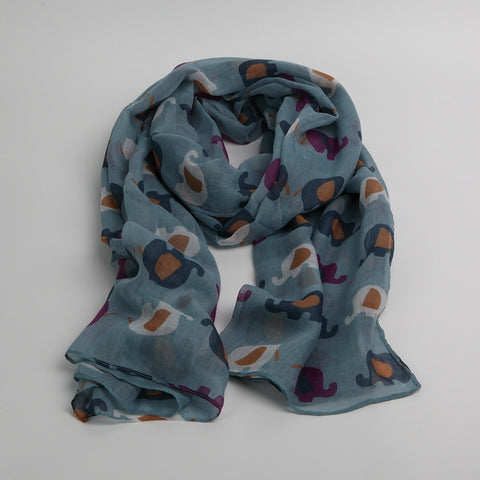 Blue Fun Elephants Scarf