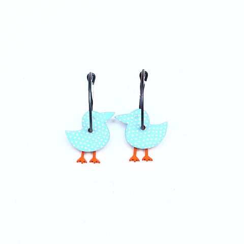 Lene Lundberg K-Form Blue Spotted Bird Earrings