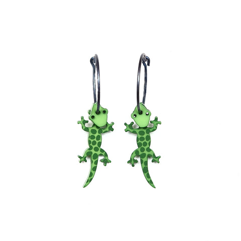 Lene Lundberg Green Spotted Gecko Earrings