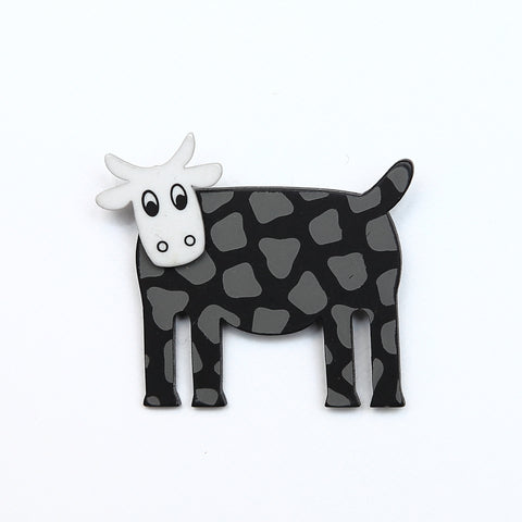 Lene Lundberg Black Cow with White Head Brooch