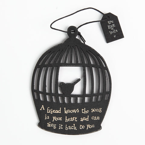 East of India Black Wooden Bird Cage