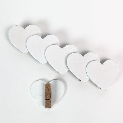 Gisela Graham White Heart Pegs (set of 6)