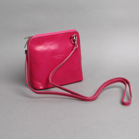 Genuine Leather Small Shoulder Bag in Fuchsia