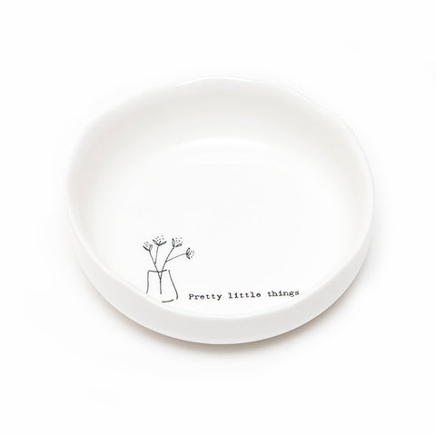 East of India Wobbly Porcelain 'Pretty Little Things' Trinket Dish
