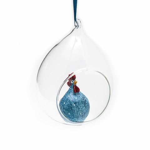 Denim Blue Hen in Glass Bauble from Naasgransgarden