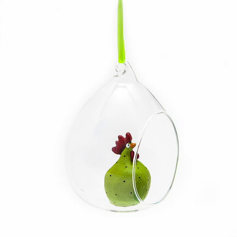 Green Hen in Glass Bauble from Naasgransgarden