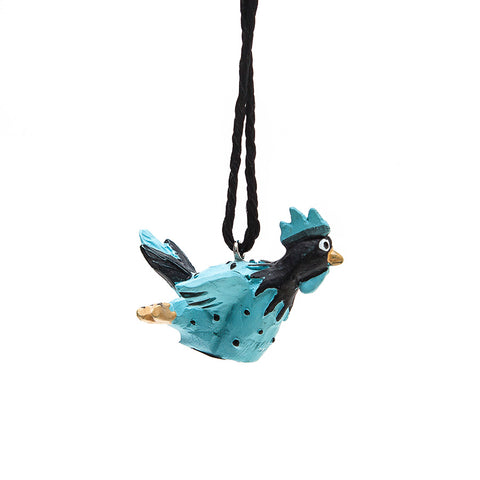Dinky Hanging Turquoise or Orange Roffe Rooster from Naasgransgarden