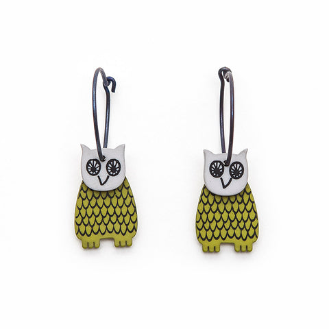Lene Lundberg K-Form Chartreuse/Grey Owl Earrings