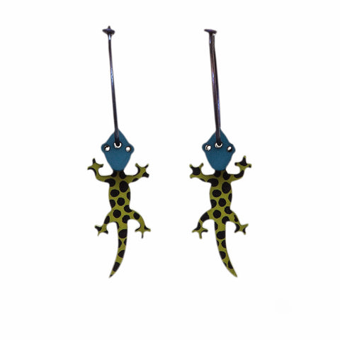 Lene Lundberg K-Form Green/Teal Gecko Earrings