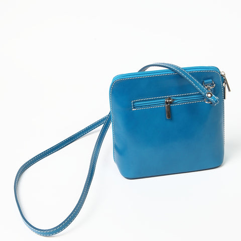 Genuine Leather Small Shoulder Bag in Bright Turquoise